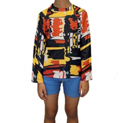 Distorted shapes in retro colors  Kid s Long Sleeve Swimwear