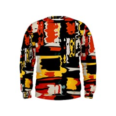 Distorted Shapes In Retro Colors  Kid s Sweatshirt