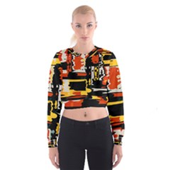 Distorted Shapes In Retro Colors   Women s Cropped Sweatshirt