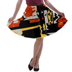 Distorted Shapes In Retro Colors A Line Skater Skirt