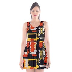 Distorted shapes in retro colors Scoop Neck Skater Dress