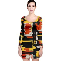 Distorted Shapes In Retro Colors Long Sleeve Velvet Bodycon Dress