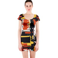 Distorted Shapes In Retro Colors Short Sleeve Bodycon Dress