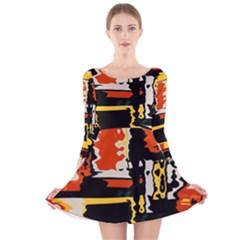 Distorted shapes in retro colors Long Sleeve Velvet Skater Dress