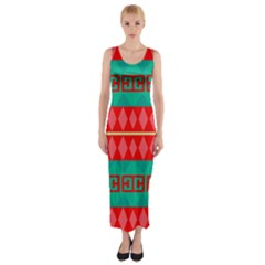 Rhombus stripes and other shapes Fitted Maxi Dress