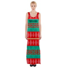 Rhombus stripes and other shapes Maxi Thigh Split Dress