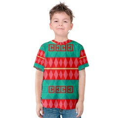Rhombus stripes and other shapes Kid s Cotton Tee