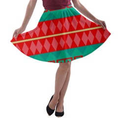 Rhombus stripes and other shapes A-line Skater Skirt