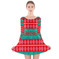 Rhombus stripes and other shapes Long Sleeve Velvet Skater Dress