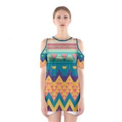 Pastel tribal design Women s Cutout Shoulder Dress