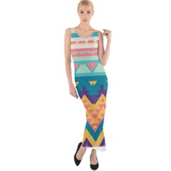 Pastel tribal design Fitted Maxi Dress
