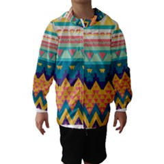 Pastel tribal design Hooded Wind Breaker (Kids)