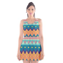 Pastel tribal design Scoop Neck Skater Dress