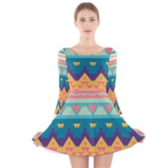 Pastel tribal design Long Sleeve Velvet Skater Dress