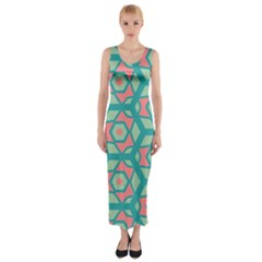 Pink Honeycombs Flowers Pattern  Fitted Maxi Dress