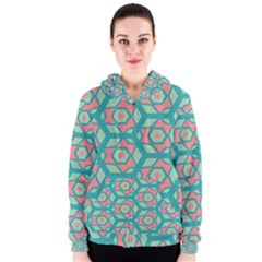 Pink Honeycombs Flowers Pattern  Women s Zipper Hoodie