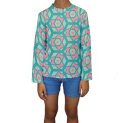 Pink honeycombs flowers pattern   Kid s Long Sleeve Swimwear