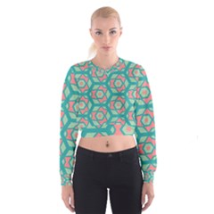 Pink Honeycombs Flowers Pattern    Women s Cropped Sweatshirt