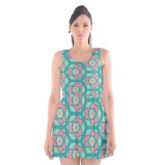Pink Honeycombs Flowers Pattern  Scoop Neck Skater Dress