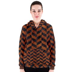 Chevron1 Black Marble & Brown Burl Wood Women s Zipper Hoodie