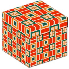 Squares And Rectangles In Retro Colors Storage Stool