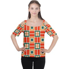 Squares and rectangles in retro colors Women s Cutout Shoulder Tee