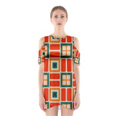 Squares And Rectangles In Retro Colors Women s Cutout Shoulder Dress