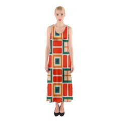Squares And Rectangles In Retro Colors Full Print Maxi Dress