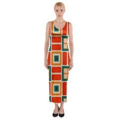 Squares And Rectangles In Retro Colors Fitted Maxi Dress