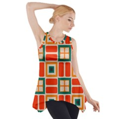 Squares and rectangles in retro colors Side Drop Tank Tunic