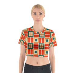 Squares and rectangles in retro colors Cotton Crop Top