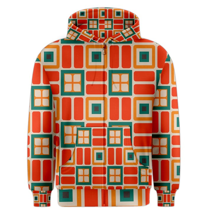 Squares and rectangles in retro colors Men s Zipper Hoodie
