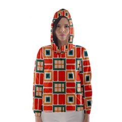 Squares And Rectangles In Retro Colors Hooded Wind Breaker (women)