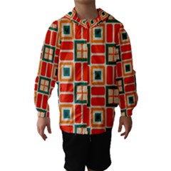 Squares and rectangles in retro colors Hooded Wind Breaker (Kids)
