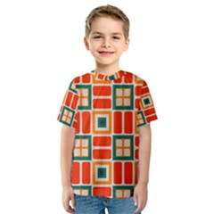 Squares and rectangles in retro colors Kid s Sport Mesh Tee