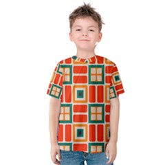 Squares And Rectangles In Retro Colors Kid s Cotton Tee