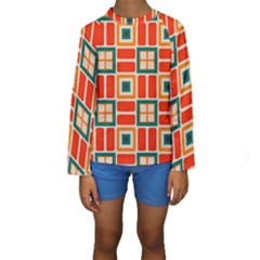 Squares And Rectangles In Retro Colors  Kid s Long Sleeve Swimwear