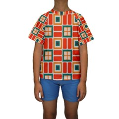 Squares and rectangles in retro colors  Kid s Short Sleeve Swimwear