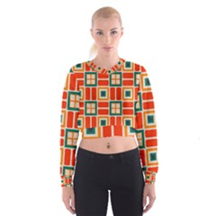 Squares And Rectangles In Retro Colors   Women s Cropped Sweatshirt