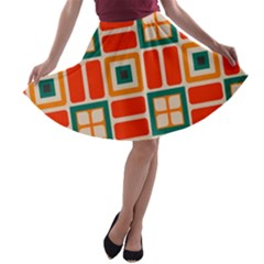 Squares and rectangles in retro colors A-line Skater Skirt