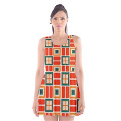 Squares and rectangles in retro colors Scoop Neck Skater Dress