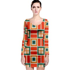 Squares And Rectangles In Retro Colors Long Sleeve Bodycon Dress