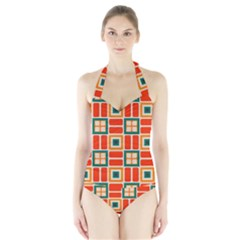 Squares and rectangles in retro colors Women s Halter One Piece Swimsuit