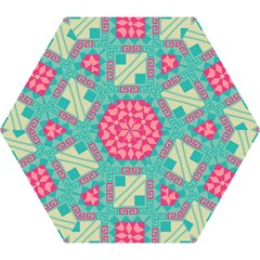 Pink Flowers In Squares Pattern Umbrella