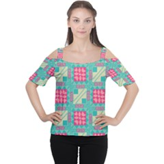 Pink Flowers In Squares Pattern Women s Cutout Shoulder Tee