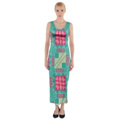 Pink flowers in squares pattern Fitted Maxi Dress