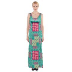 Pink flowers in squares pattern Maxi Thigh Split Dress