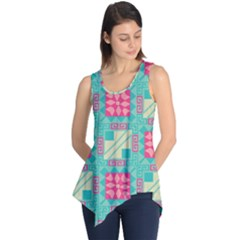 Pink Flowers In Squares Pattern Sleeveless Tunic