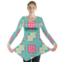Pink flowers in squares pattern Long Sleeve Tunic