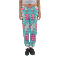 Pink flowers in squares pattern Women s Jogger Sweatpants